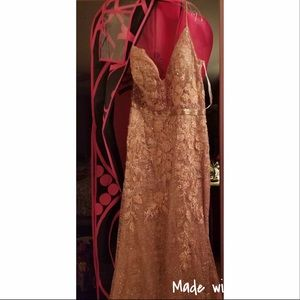 Jovani rose gold dress